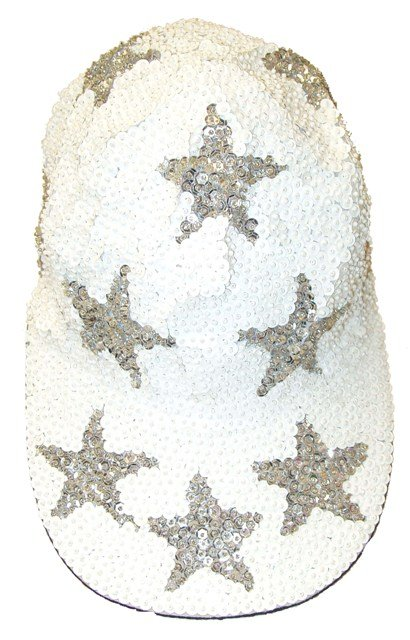 Image 0 of Sequin Baseball Cap White w/Silver Stars