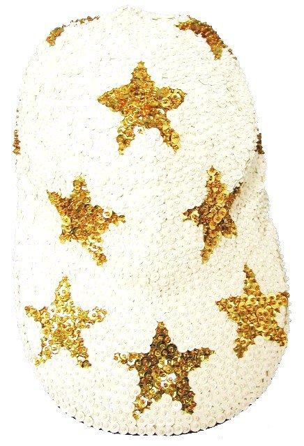 Image 0 of Sequin Baseball Cap White w/Gold Stars