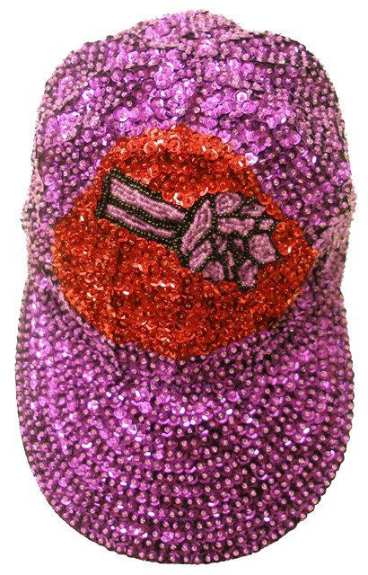 Image 0 of Sequin Baseball Cap Purple w/Red Hat