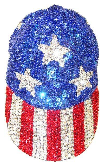 Image 0 of Sequin Baseball Cap USA #6