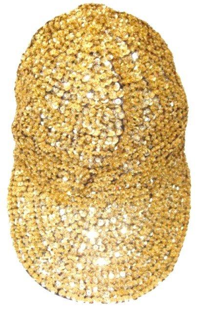 Image 0 of Sequin Baseball Cap Gold