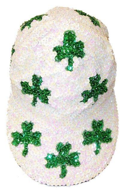 Image 0 of Sequin Baseball Cap Opal White w/Shamrock