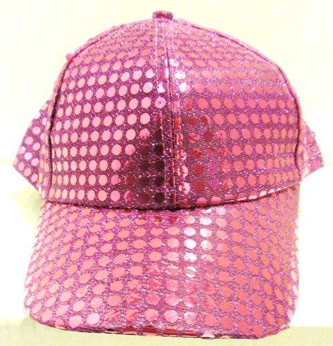 Image 0 of Sequin Fabric Metallic Baseball Cap Fushia/Hot Pink