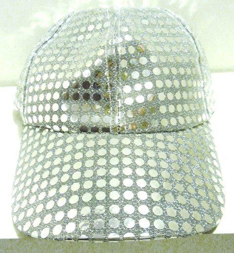 Image 0 of Sequin Fabric Metallic Baseball Cap Silver