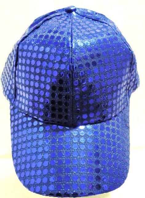 Image 0 of Sequin Fabric Metallic Baseball Cap Royal Blue