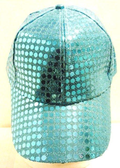 Image 0 of Sequin Fabric Metallic Baseball Cap Turquoise