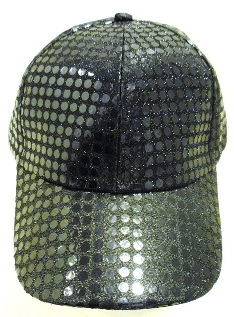 Image 0 of Sequin Fabric Metallic Baseball Cap Black