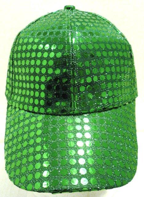 Image 0 of Sequin Fabric Metallic Baseball Cap Emerald Green