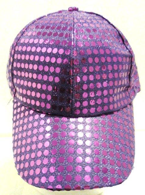Image 0 of Sequin Fabric Metallic Baseball Cap Purple