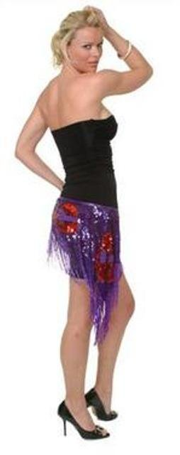 Image 2 of Sequin Shawl/Wrap Purple w/Red Hats