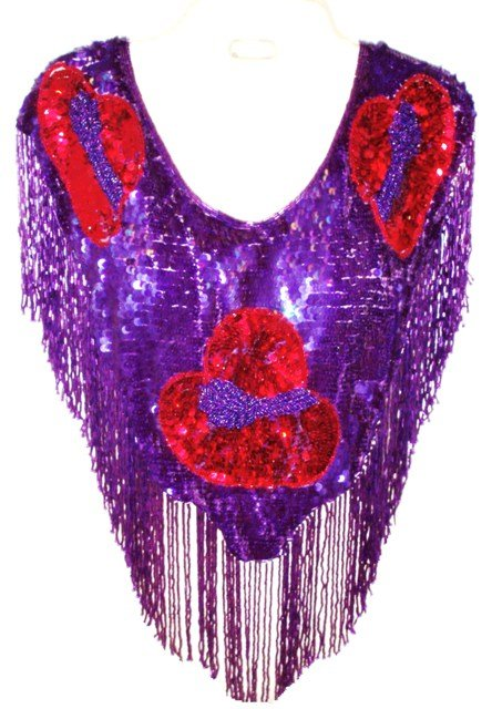 Image 0 of Sequin Shawl/Wrap Purple w/Red Hats