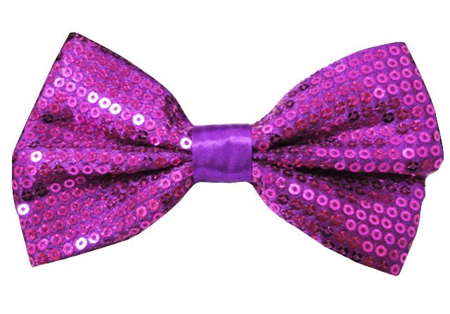 Image 0 of Sequin Fabric Bow Tie Purple