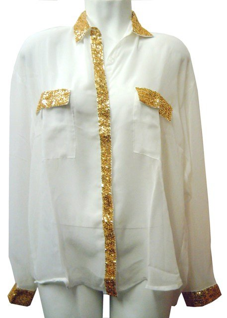 Image 0 of Sequin Chiffon Blouse Ivory w/Gold