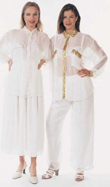 Image 1 of Sequin Chiffon Blouse Ivory w/Gold