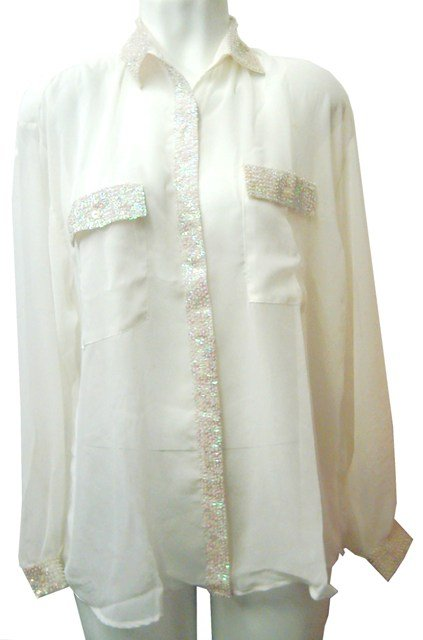 Image 0 of Sequin Chiffon Blouse Ivory w/Opal White