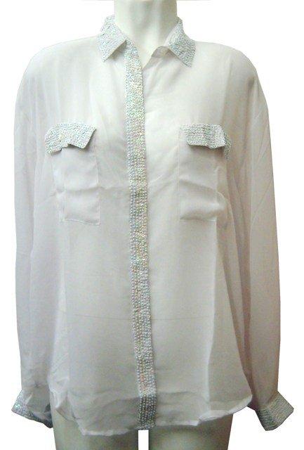 Image 0 of Sequin Chiffon Blouse White w/White