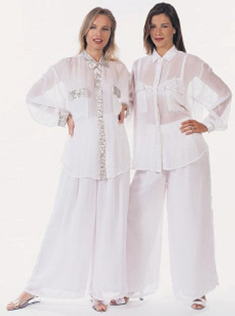 Image 1 of Sequin Chiffon Blouse White w/White
