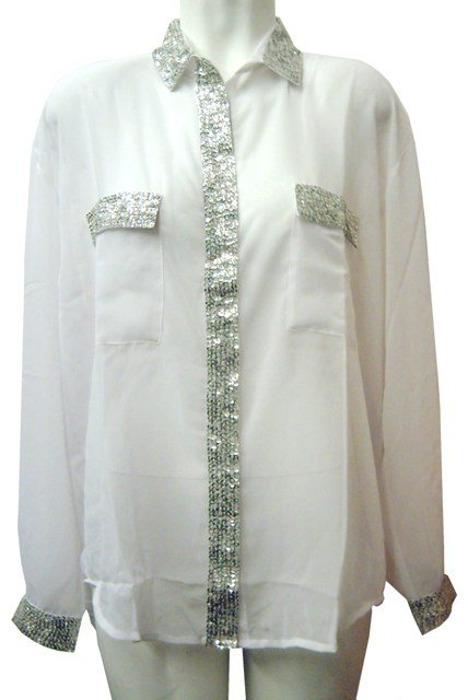 Image 0 of Sequin Chiffon Blouse White w/Silver