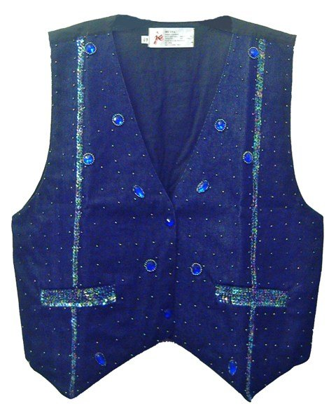 Image 0 of Denim Sequin Vest Navy Blue