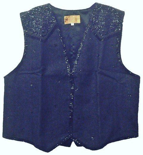 Image 0 of Denim Sequin Vest Black