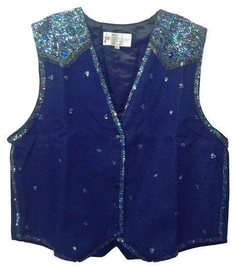 Image 0 of Denim Sequin Vest Navy Blue