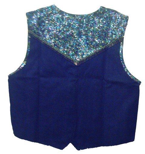 Image 1 of Denim Sequin Vest Navy Blue