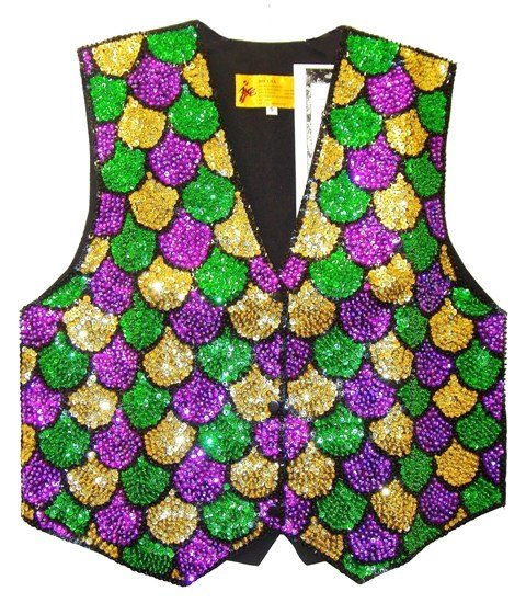 Image 0 of Sequin Vest MARDI GRAS Shells Fat Tuesday (Kids)