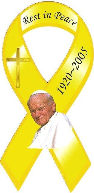 Image 0 of Ribbon Car Sticker Pope John Paul Rest in Peace 1920-2005