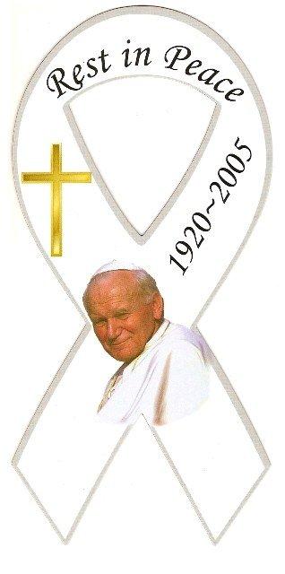 Image 0 of Ribbon Car Sticker Pope John Paul Rest in Peace 1920-2005 White