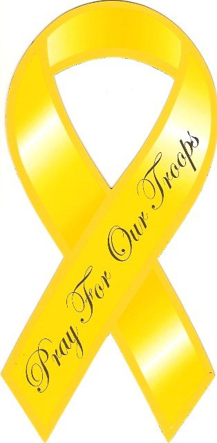 Image 0 of Ribbon Car Sticker Pray For Our Troops Yellow