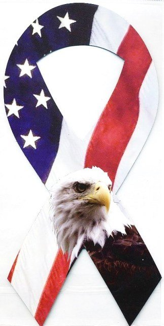 Image 0 of Ribbon Car Sticker USA w/Eagle