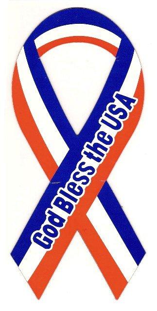 Image 0 of Ribbon Car Sticker God Bless the USA