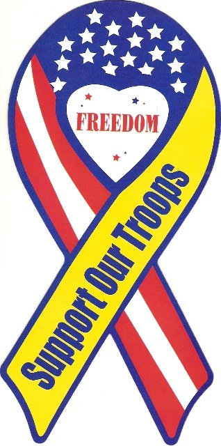 Image 0 of Ribbon Car Sticker Freedom Support Our Troops
