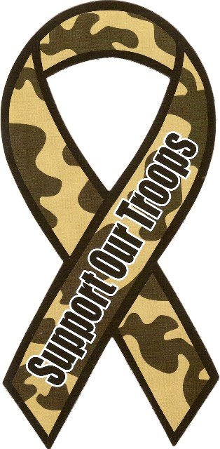 Image 0 of Ribbon Car Sticker Army Support Our Troops