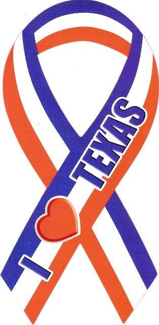 Image 0 of Ribbon Car Sticker I Love Texas