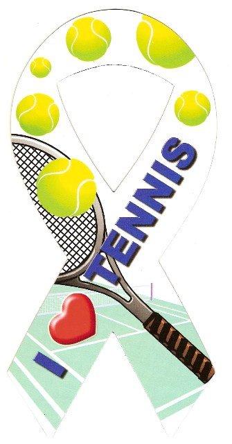 Image 0 of Ribbon Car Sticker I Love Tennis