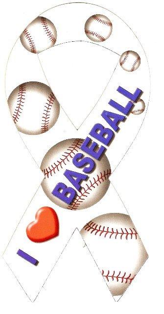 Image 0 of Ribbon Car Sticker I Love Baseball