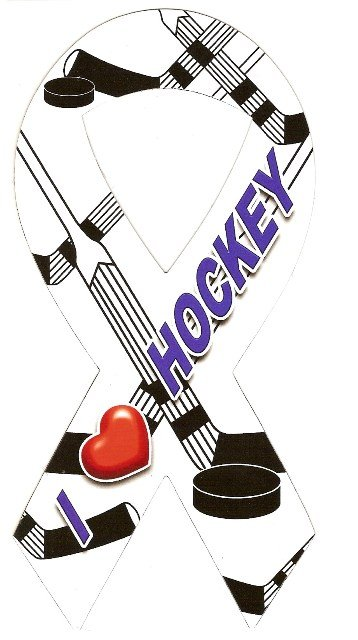 Image 0 of Ribbon Car Sticker I Love Hockey