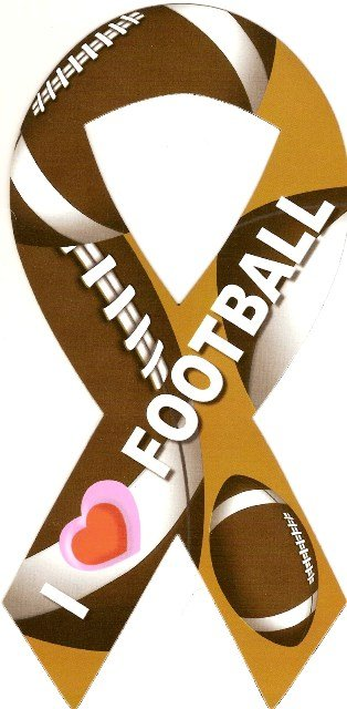 Image 0 of Ribbon Car Sticker I Love Football
