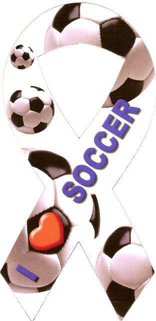 Image 0 of Ribbon Car Sticker I Love Soccer