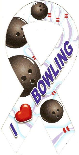 Image 0 of Ribbon Car Sticker I Love Bowling
