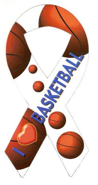 Image 0 of Ribbon Car Sticker I Love Basketball