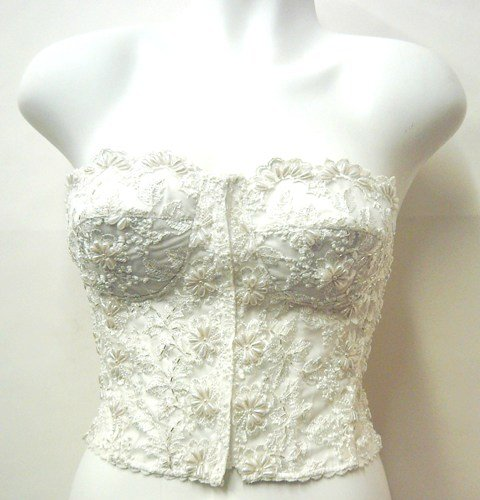 Image 0 of Lace Beaded Bustier Top Ivory GBS254