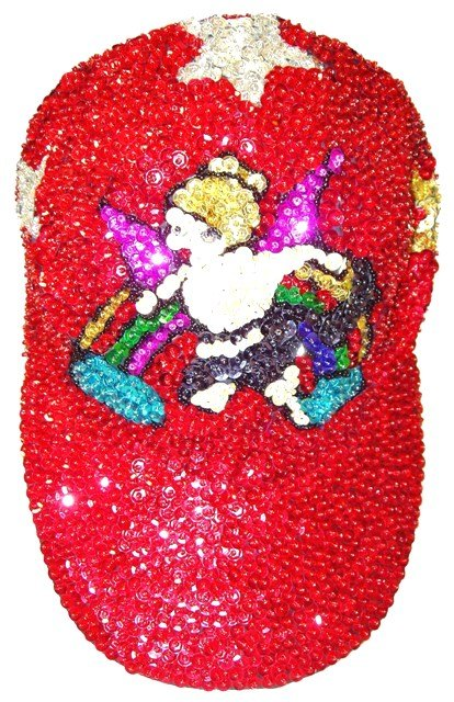 Image 0 of Sequin Baseball Cap Angel Red