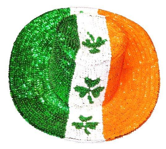 Image 0 of Sequin Cowboy Hat Irish Flag w/Shamrock
