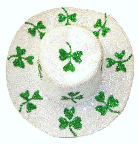 Image 0 of Sequin Cowboy Hat Opal White w/Shamrock