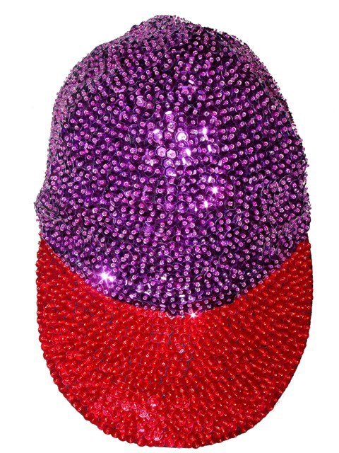 Image 0 of Sequin Baseball Cap Purple w/Red Brim