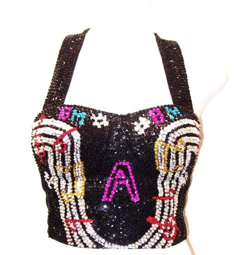 Image 0 of Sequin Bustier Black w/Music Notes