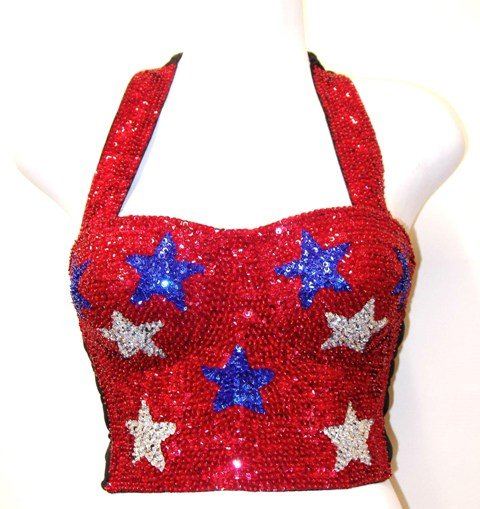 Image 0 of Sequin Bustier Red w/Blue & Silver Stars