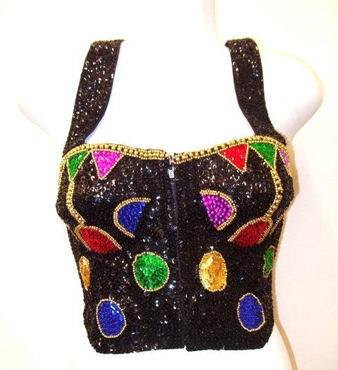 Image 0 of Sequin Bustier Black w/Multi Dots